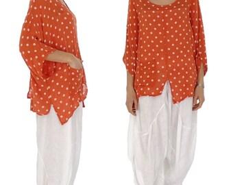 HX900OR ladies blouse kastig cut points tunic crash one size orange Gr. 38 40 42 44 46