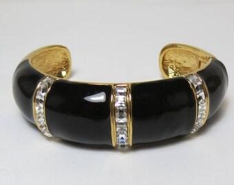 SALE Vintage Oscar de la Renta Enamel and Rhinestone Bracelet