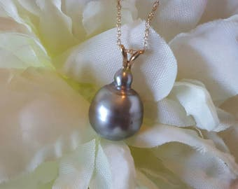14K Gold Simple Silver Pearl Necklace (st - 1990)