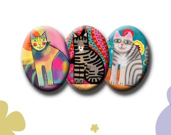 FUNKY CATS  -  Digital Collage Sheet - 18mm x 25mm oval images for pendants, earrings,  decoupage etc. Instant Download #213.