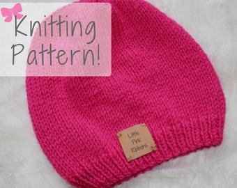 Slouchy Hat Pattern // Knit Hat Pattern // Slouchy Knit Hat Pattern // Slouchy Beanie // Adult & Teen Hat Pattern // Beginner Knit Pattern
