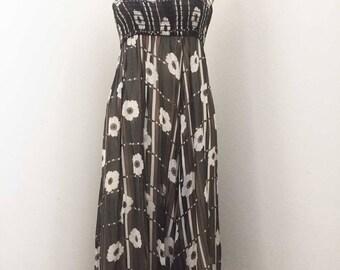 Vintage 70s Floral Chiffon Smocked Dress/Maxi Skirt