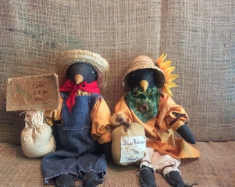 Vintage scarecrows, vintage handmade scarecrows, vintage fall decor, autumn decor, scarecrow pair, scarecrow decor, vintage autumn decor