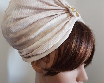 White Cream Womens Turban , Head Wrap , Ladies Turban Hat , Fashion Turban , Turban Headband , Full Turban , Chemo Cap