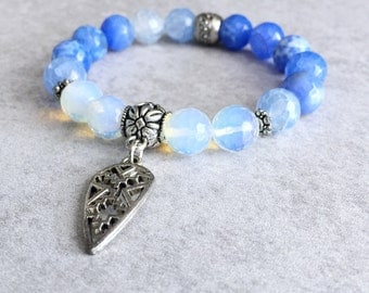 Opalite Arrowhead Beaded Bracelet - Stackable, Periwinkle Blue Fire Agate Beads, Antique Silver Beads, Stretchy, Gypsy, Boho Chic Jewelry