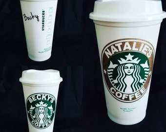 Personalization on Reusable Starbucks cups with lid