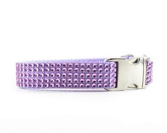 Lavender Rhinestone Dog Collar - Bling Swarovski-Like Purple Gemstone Studded Wedding Dog Collar