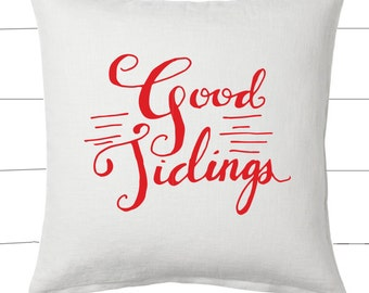 Red and White Good Tidings Christmas Pillow and Insert Christmas Decoration Christmas Saying Holiday Pillow Red White Christmas Classic