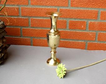 Vintage Big Middle-Eastern Vase Metal Brass Vase in Gold Color