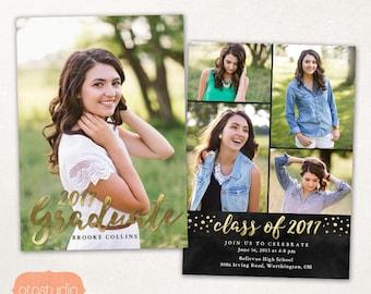 Graduation Announcement Senior Card Template for Photographers PSD Flat card - Gold & Black CG038