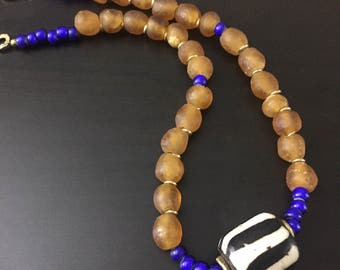 Afrocentric Jewelry - Krobo and batik Necklace