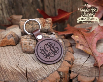 Personalized Monogram Leather Key Chain Key Fob Monogram Gift Monogram Keychain  Gift for Her