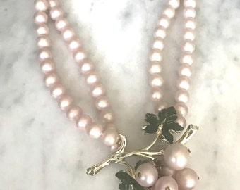 Vintage Pink Pearl Double Strand Necklace
