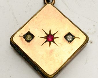 Victorian Fob locket. Star. aesthetic period. Old gold. 1900 1900s. rhinestone antique nouveau jewelry
