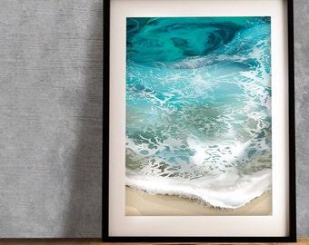 "A4 ""Sea"" Art Print - Original Geometric Drawing"