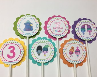 Troll Cupcake Toppers, 12 Troll Birthday Party Cupcake Toppers -Troll Birthday Party Decorations, Girl Cupcake Toppers