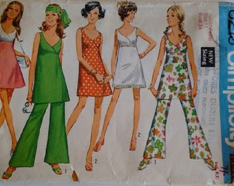 """Vintage 60's Simplicity #8213 Summer Beach Mini Bra Top Dress and Bell Bottom Trouser Pants Sewing Pattern Bust 34"""""""