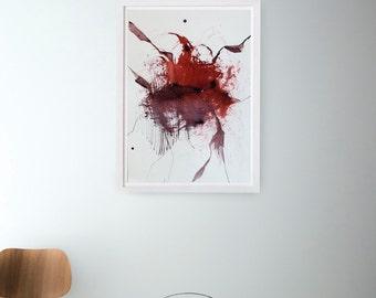 Abstract art ink painting, explosion art, nature, art, minimal, ink, movement, constellation, modern art, minimalist art, red, abstract