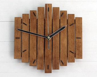 Wooden Clock, Wall Clock, Wood Wall Clock, Modern Wall Clock, Steampunk Clock, Rustic Clock, Industrial Wall Clock, Geometric Decor, Romb I