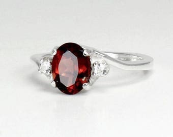 Natural Garnet Ring Sterling Silver / Garnet Ring Silver January Birthstone