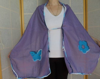 Purple shawl & wrap with flower and butterfly