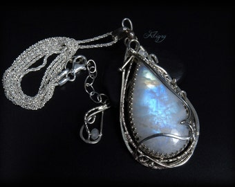 Rainbow Moonstone 935 Silver Necklace  with VIDEO
