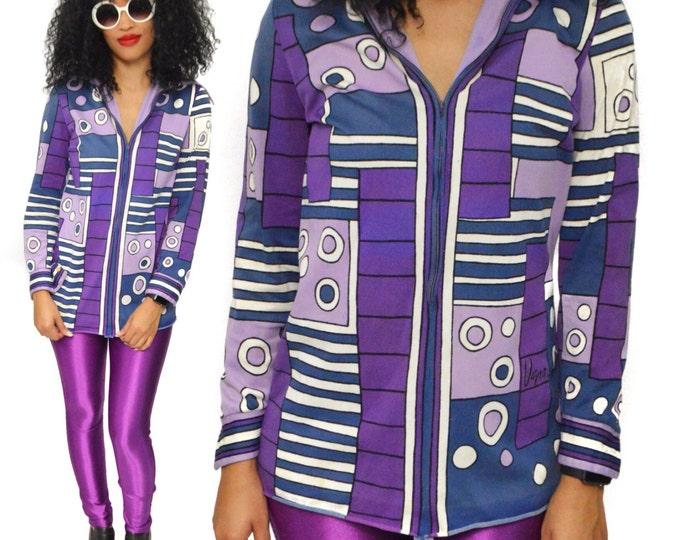 Vintage 70s Vera Neumann Colorblock Multicolor Boho Blouse Shirt Top