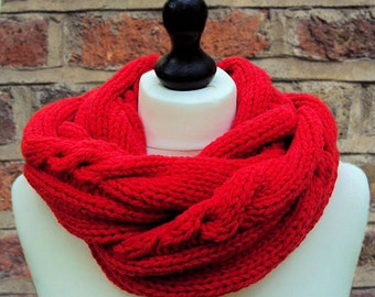 Red Infinity Scarf, Knit Infinity Scarf, Red Wool Scarf, Women's Scarf, Men's Infinity Scarf, Hand Knit Scarf, Bright Red Scarf, Sue Ma