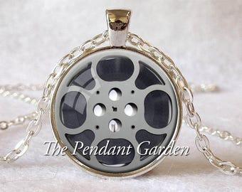 FILM REEL NECKLACE Film Reel Pendant Gray and Black Filmmaker Jewelry Film Pendant Filmmaker Gift