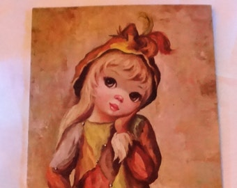 Vintage Maio Big Eyed Girl Print Harlequin Girl 14 X 6 Unframed Very Good Condition Lithograph