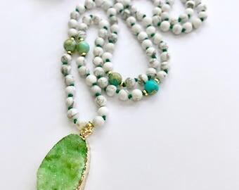 108 Mala Beads, Knotted Mala Necklace, Mala Necklace, Druzy Mala Necklace, Prayer Beads, Hand Knotted Meditation Beads, Yoga Necklace, KDMN