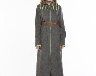 Wool Maxi Loose Shirts-Dress_CHECK