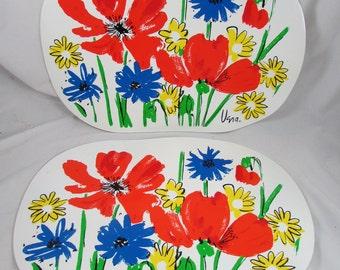2 Vera Neumann Placemats Mod Floral Print