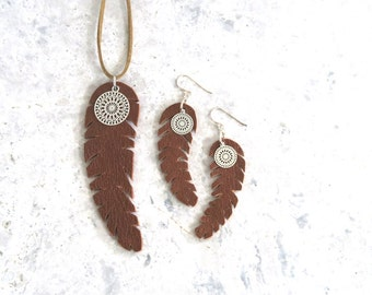 Necklace and Earring Set - Feather Necklace and Feather Leather Earrings