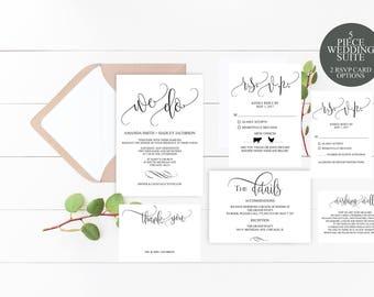 We Do Wedding Invitation Template Editable Modern Wedding Invitation, Printable Wedding Invite Set, Script, Digital, DIY, Instant Download