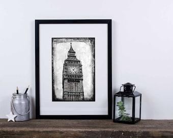 5x7 Grunge Ben - Big Ben London black and white photography