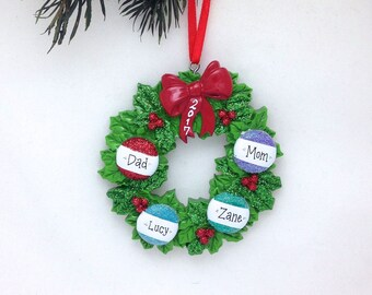 FREE SHIPPING 4 Member Family Personalized Christmas ornament / Christmas wreath / Personalized Ornament / Personalized Christmas Gift