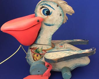 1961 Vintage Fisher Price Big Bill Pelican Pull Toy #794