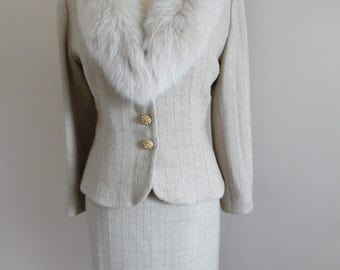 Vintage 1980s Beige Boucle with Gold Threads Skirt Suit with Fur Collar and Jeweled Buttons by Victor Costa for Neiman Marcus