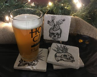 Skull Coasters or Tiles - Succulents - Boho -  Set of 4. Tumbled Marble 4in. x 4in.