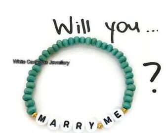 Marry me bracelet, wood bead letter bracelet, womens bracelet, wedding proposal bracelet, message bracelet, turquoise bracelet