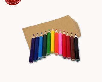 Set of 12 Mini Colored Pencils for Color Me Greetings