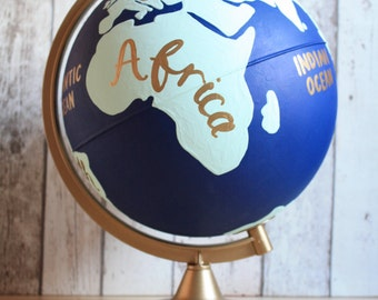 "Hand Painted Globe with Continents | 10"" Diameter 