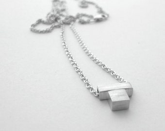 Tanja Square Necklace - Minimalist Necklace, Modern Layering Necklace, Minimalist Geometric Necklace, Minimalist Jewelry, Silver Necklace