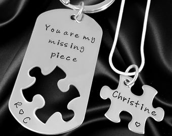 Long distance relationship gift - Him and Her, Couples Jewelry - You are my missing piece - Jewelry - Puzzle piece Necklace