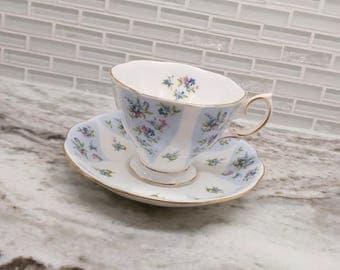 Vintage Royal Albert Debutante series Gaiety blue floral tea cup, bone china english tea set, dainty teacup
