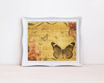 Pink Vintage style butterfly wall decor art print