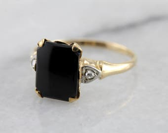 Vintage Onyx Ring with Rose Cut Diamond Accents 639H30-N