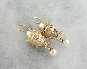 Vintage Hot Air Balloon Earrings, Pearl Drop Earrings, Vintage Gold Drop Earrings 03M90W-N