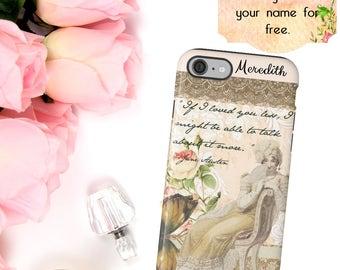 Jane Austen Phone Case, Regency Fashion Phone Case, Jane Austen Quote,  iPhone 6 7 Plus, Samsung Galaxy Case,  Book Reader Phone Wallet Gift